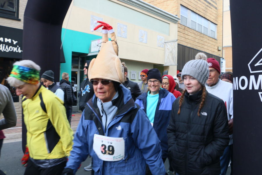 Runner #39 is bundled up, festive and optimistic that she can finish the race, even if she walks the whole way.