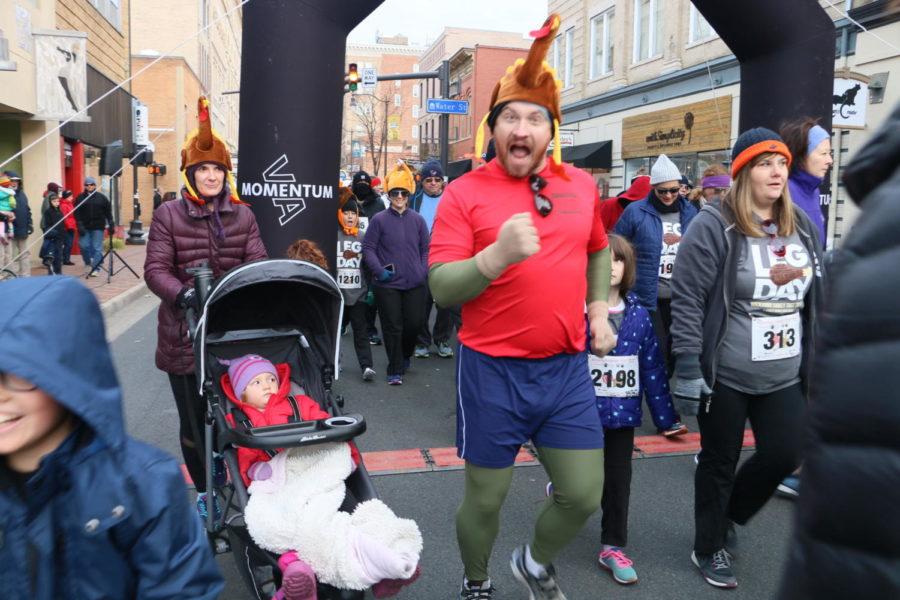 Runners start off the race in high spirits.