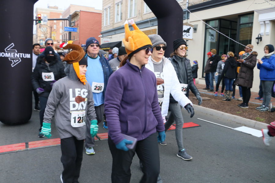 Many people wore a turkey hat, showing their support for the run.