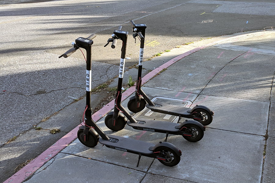 Bird scooters sit on the sidewalk in their