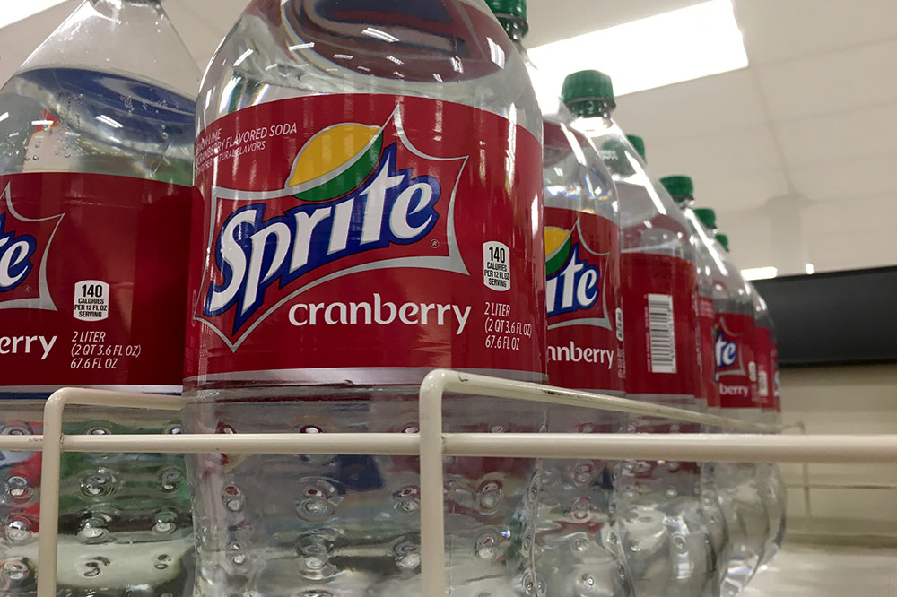 de10b89b012 Sprite Cranberry fills the shelves of a grocery store. In 2018