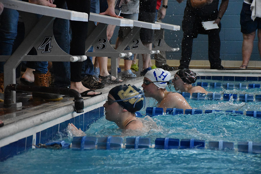 Freshman Maddie McCay finishes her 50 freestyle, she placed 2nd in this event.
