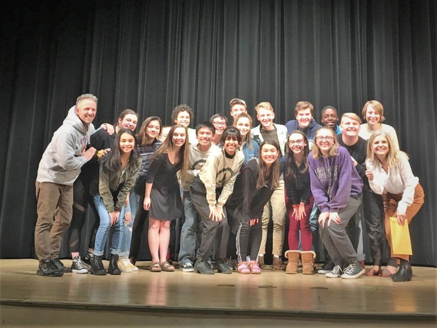 The+Stage+Streaks+celebrate+their+first+place+win+at+the+5D+South+Sub+Regional+One+Act+Competition.+The+cast+will+now+be+moving+on+to+compete+in+regionals+next+Saturday%2C+Feb.+2+at+Albemarle+High+School.