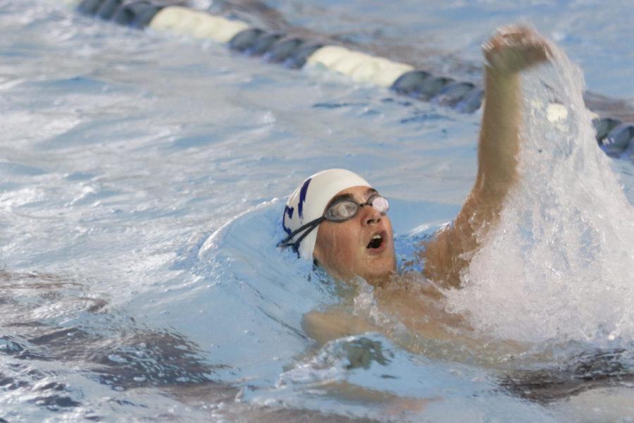 Junior Ritt Culbreth swims the 100 yard backstroke.