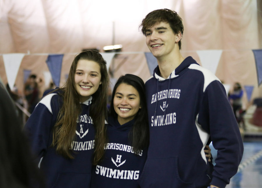 Seniors Samantha Little, Jan Marie Joven and Kyle Brown pose for a picture after being recognized as seniors.