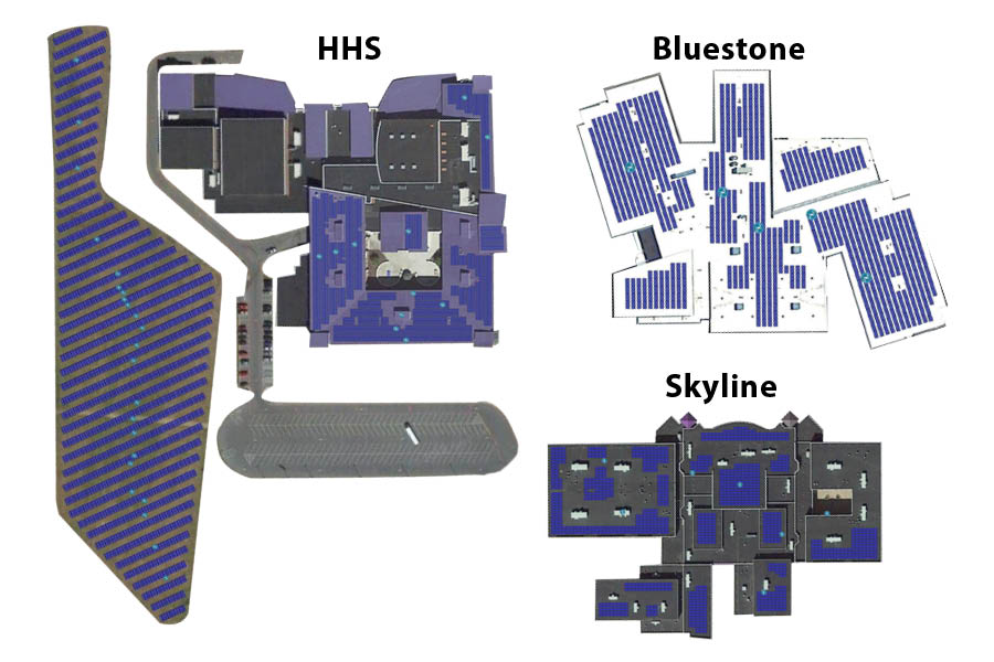 A 1.74 megawatt (MW) system is planned to be installed at HHS. Secure Futures used a program called HelioScope to digitally plan the solar arrays that they are proposing to the school board. Bluestone Elementary would install a 296 kilowatt (KW) system, and Skyline Middle would implement a 501KW system. There are also plans for more ground installations at the high school, Keister and Stone Spring Elementary schools.