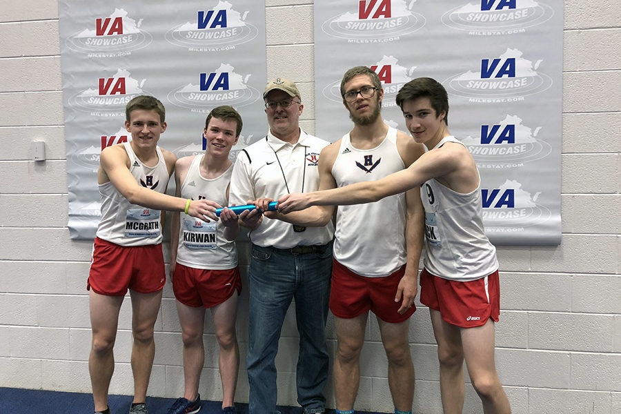 From+left%3A+The+boys+4x800+meter+relay+consists+of+junior+Tucker+McGrath%2C+sophomore+Hayden+Kirwan%2C+senior+Alex+Hulleman+and+sophomore+David+Beck.+Coach+Jerry+Hertzler+is+in+the+middle.