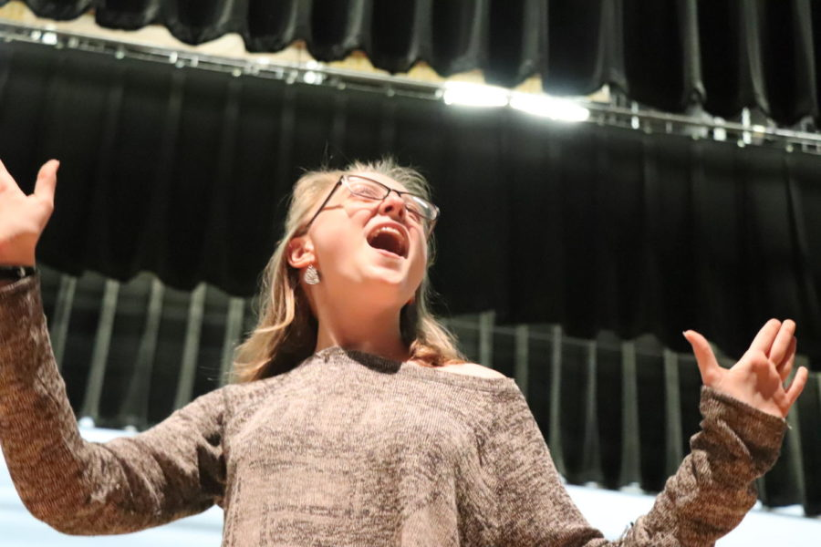 Junior Danner Rebhun sings her heart out on stage.