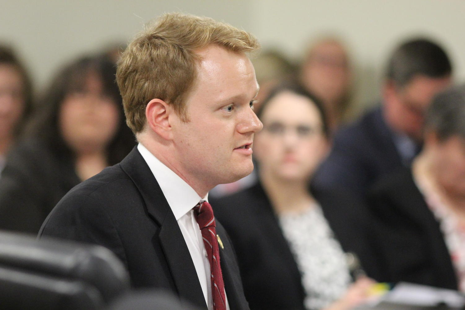 Delegate Chris Hurst presents the House Bill 2382 to the Education Subcommittee on Jan. 28 to protect scholastic journalists from censorship.
