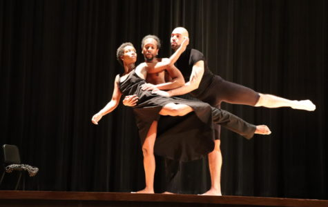 The dancers form one shape as they perform a piece about a love triangle.