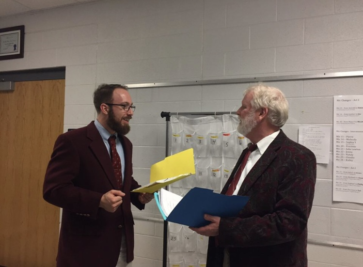 STEM Chemistry teacher Erich Sneller (left) runs through lines for Legally Blonde with Assistant Principal Mike Eye. This year's musical features several teachers.