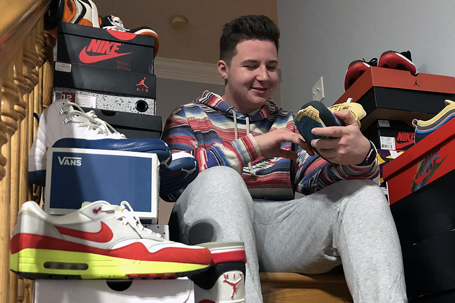 Senior Tommy Karageorge shows off his shoe collection.