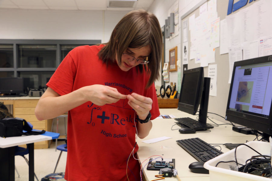 Freshman Micah Cessna builds an Arduino animatronic bird.