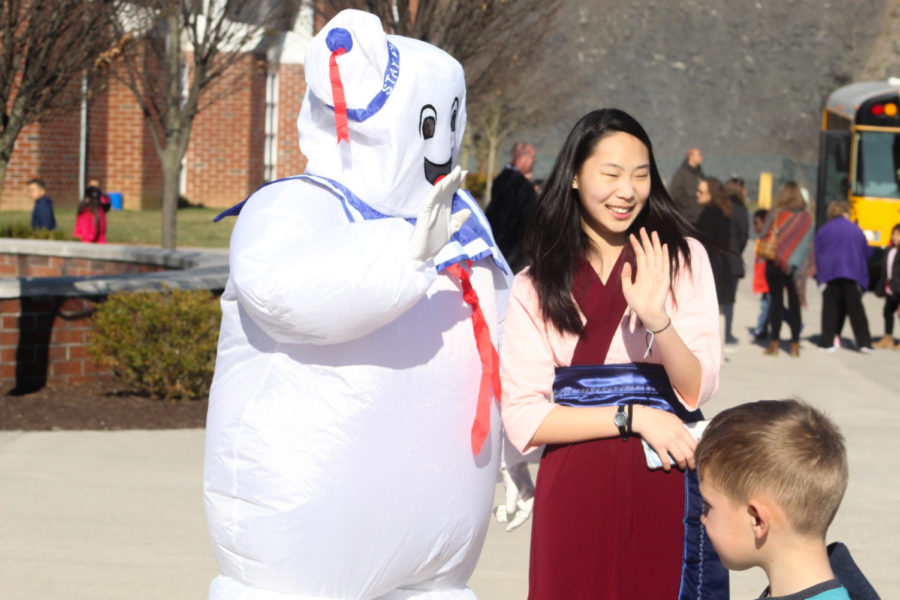 Senior Kaeden Click and Irene Liu dressed as Marshmallow Man and Mulan for the Tiny Tots concert.
