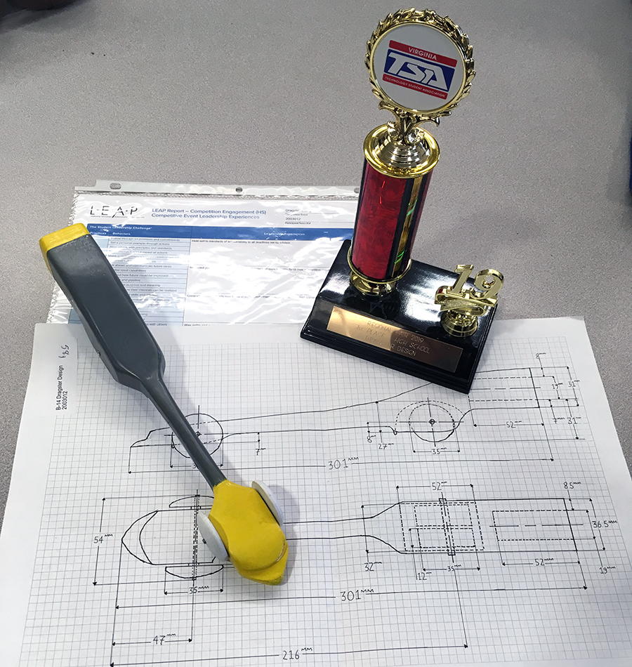 Sophomore Henry Hermes's dragster design won first place at the regional TSA competition.