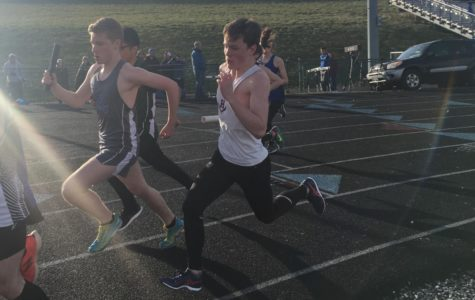 Sophomore Hayden Kirwan leads off the Boys 4x800m relay at the Gary Bugg Coed Classic