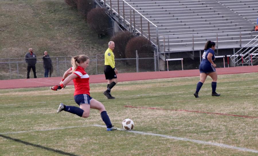 Hinshaw takes a goal kick.