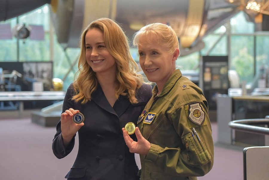 Captain+Marvel+actress+Brie+Larson+meets+Brig.+Gen.+Jeannie+Leavitt%2C+the+Air+Force%27s+first+female+fighter+pilot%2C+to+research+her+character.