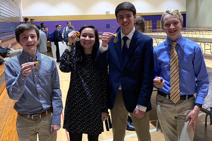 Sophomores Nathan Henderson and Holly Bill and freshmen Keenan Glago and Micah Tongen will advance to the state science fair.