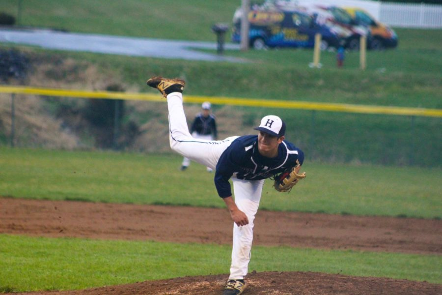 Freshman Dylan Burnette delivers a pitch in the fourth inning.