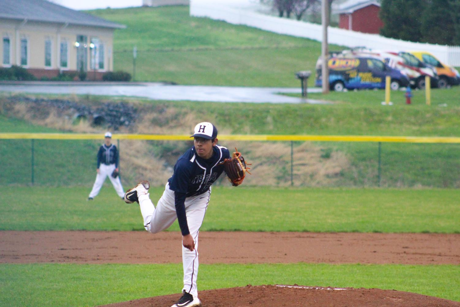 Sophomore+Diego+Gallegos+delivers+a+pitch+during+the+early+stages+of+the+game.