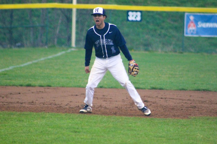 Senior Jose Rocha reacts after a pitch in the first inning.
