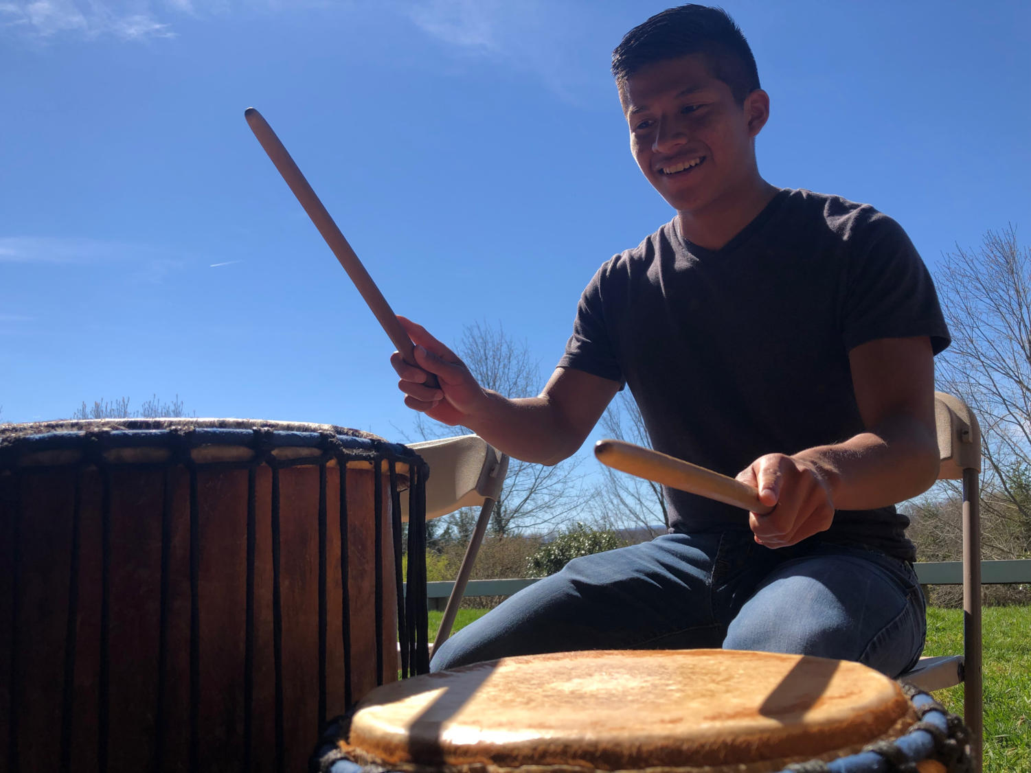 Sophomore Mellser Aguilar plays the main beat for the drums.