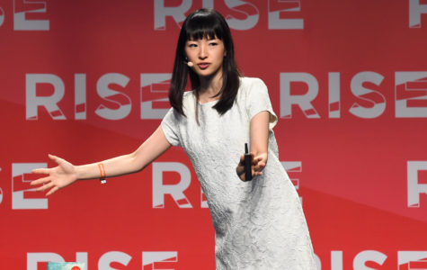 Maire Kondo speaks at a conference. Kondo is a tidying consultant and creator of the Konmari method, a cleaning process and philosophy.