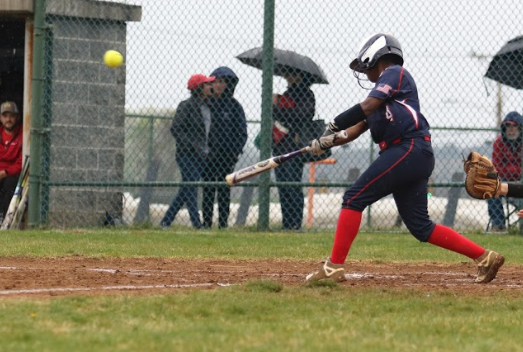 During a home game against Riverheads, senior Cyniah Stuart hits a pop fly. The blue streaks ended up losing with a final score of 18-6.