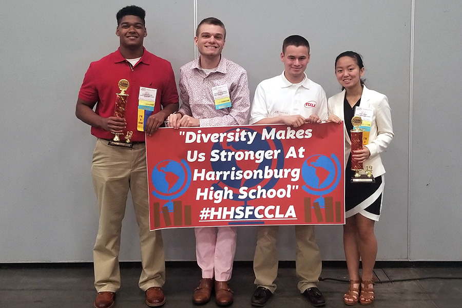 Junior Jaydon Jackson, adviser Nicholas Zimmerman, senior Ethan McHone and sophomore Ruby Arndt competed in the FCCLA state conference this weekend.