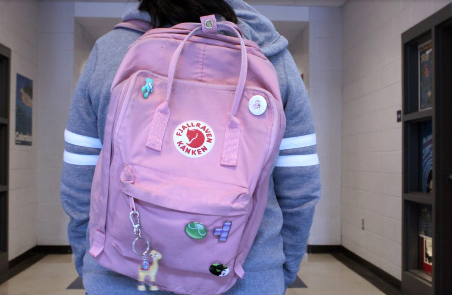A+student+wears+a+light+pink+Fjallr%C3%A4ven+K%C3%A5nken+bag+to+school.+Mattson+believes+that+their+high+price+and+small+size+make+them+inconvenient.