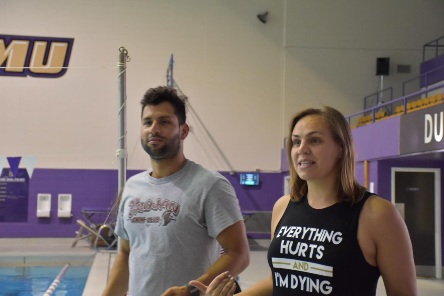 Raminta Dvariskyte Pinzon with her husband Omar Pinzon instruct the team for warm ups.