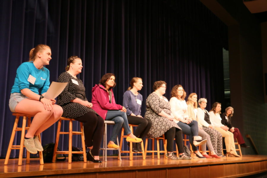 Guest mentors answer questions during a panel.