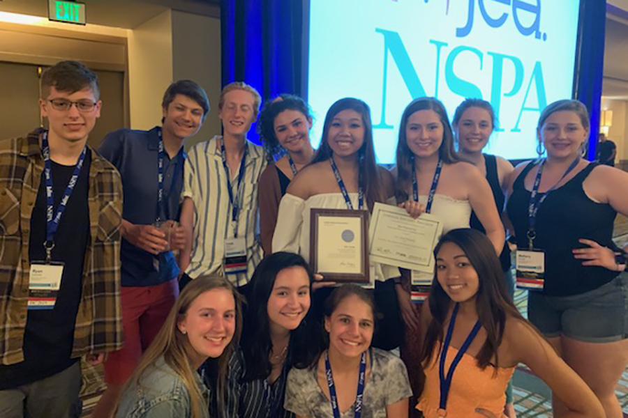The Newsstreak staff stops for a photo while at the national journalism convention in Anaheim, CA.