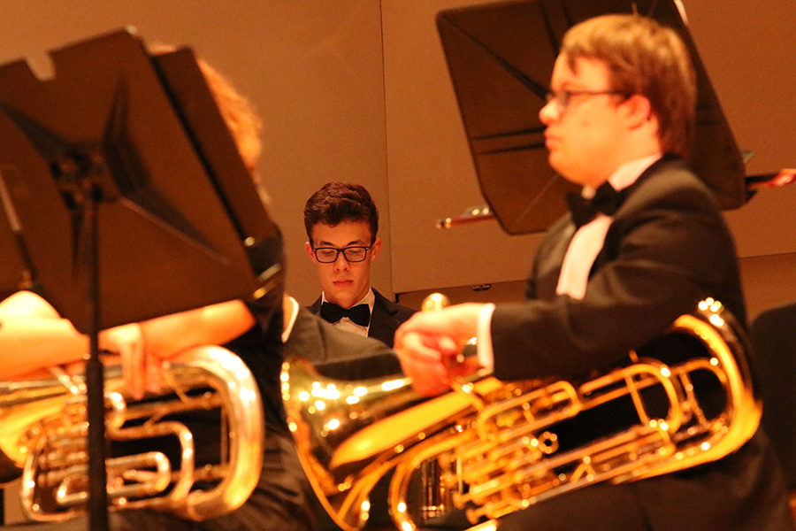 As a part of Percussion II, junior Declan Leach also plays in the Symphonic Band.