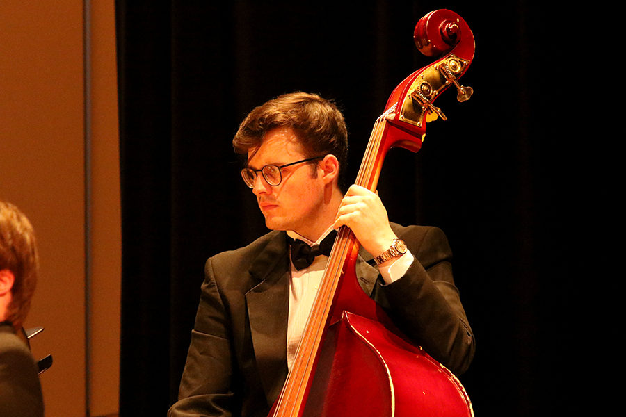 Senior Jaden Graham plays bass as the only strings member of the Symphonic Band.