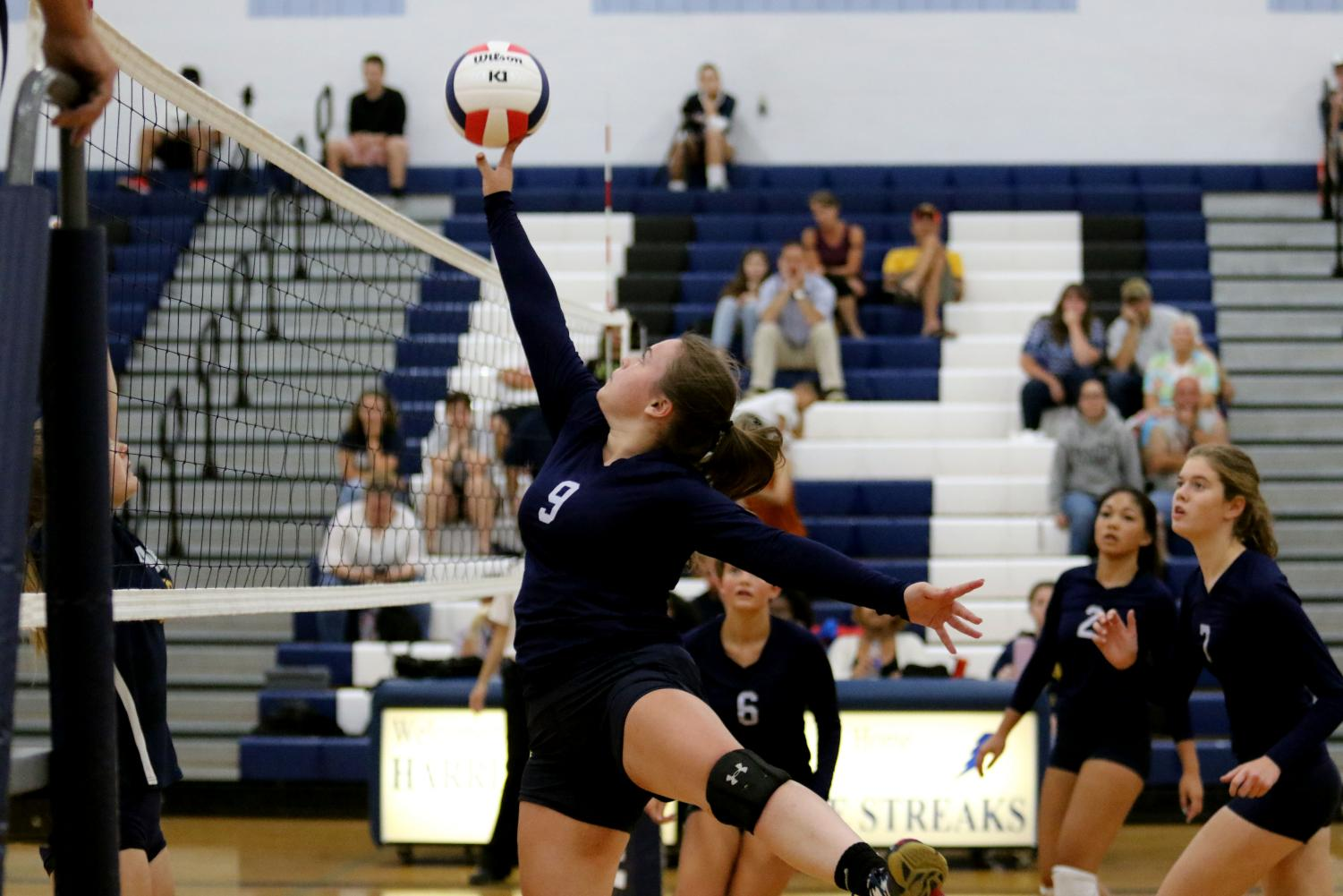 Sophomore+Hope+Persinger+jumps+up+to+tip+the+ball+over+the+net.+