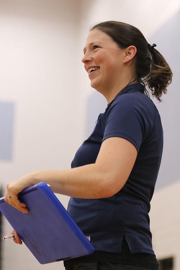 Coach+Hannah+Bowman+Hrasky+smiles+as+she+coaches+her+team.