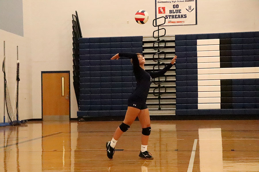 Swartz+serves+the+ball+during+the+second+set.+