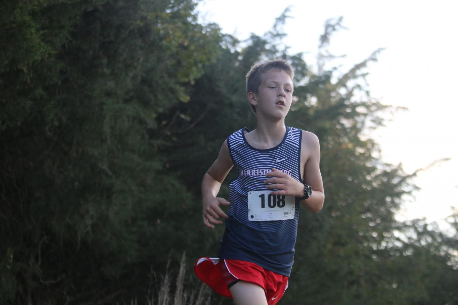 Evan Eberly competes in City/County Champs on Wednesday. The boys team won for the 10th time in program history.