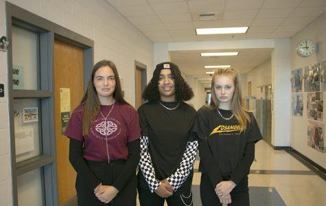 Freshmen Lena Fulton-Wright, Maya Sarco and Maddie Yoder dress up as E-Girls.