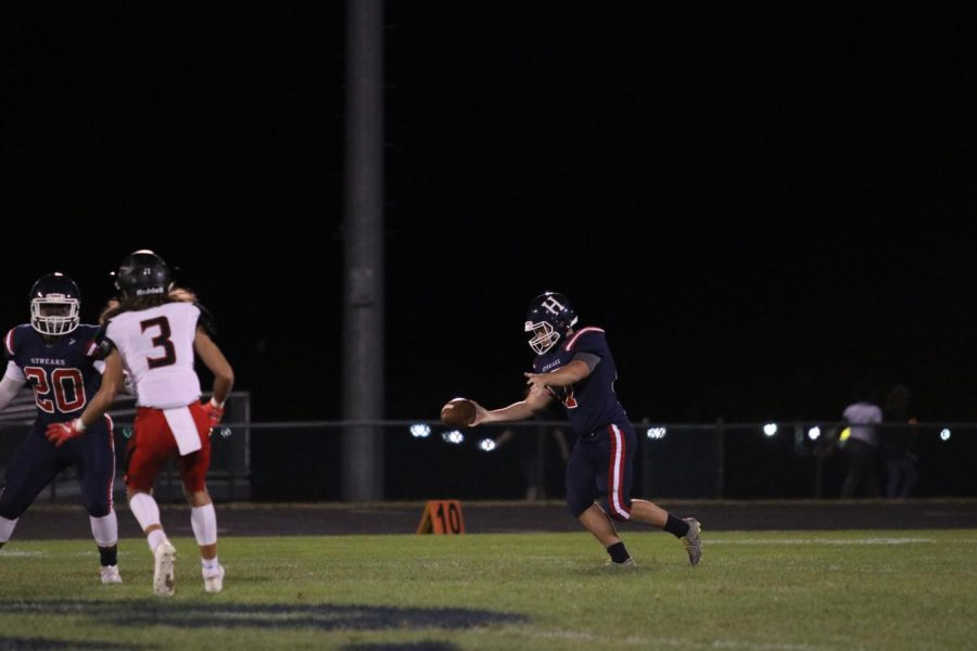 Following a failed third down, senior kicker Mateo Peric (#17) punts to the other team. The Streaks lost to Sherando 7-52.