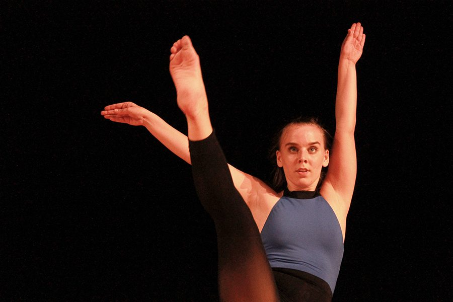 Senior+Kate+Cummings+films+her+one+minute+dance+prescreen+to+send+as+a+part+of+her+college+application+process.