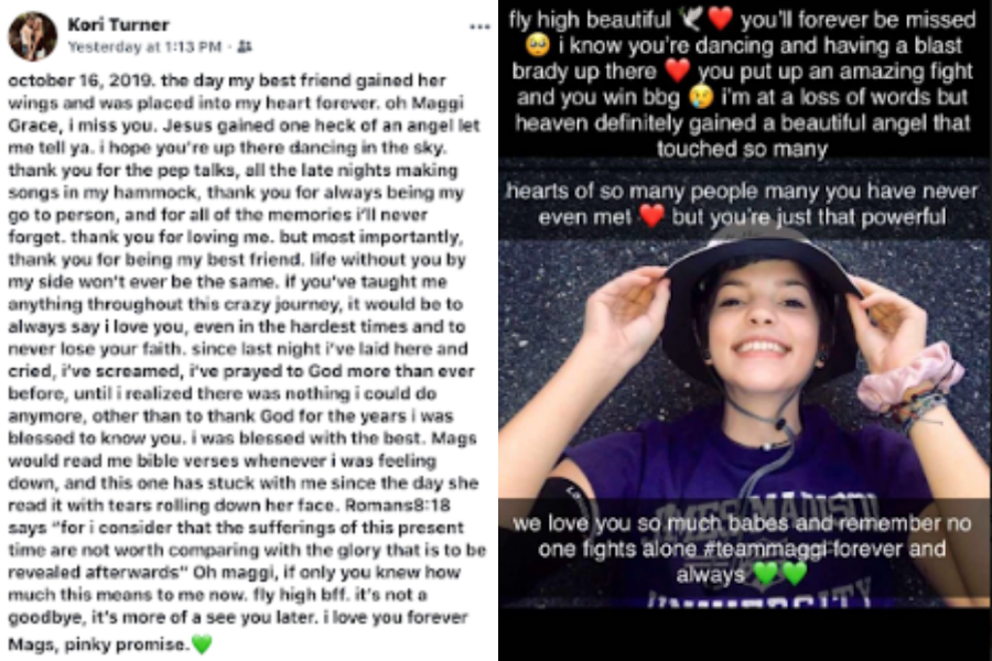 After news of Peterson's death was posted on Facebook, teens took to numerous social media platforms to share the memories they had with her.
