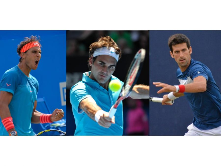 20 time Grand Slam champion Roger Federer (middle) set an unbeatable record and will not be surpassed by Novak Djokovic (left) and Rafael Nadal (right) in overall grand slam wins.