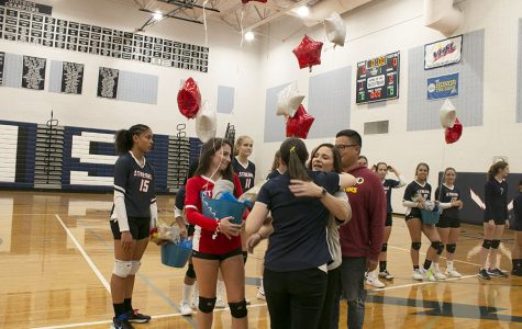 Varsity volleyball recognizes players on senior night