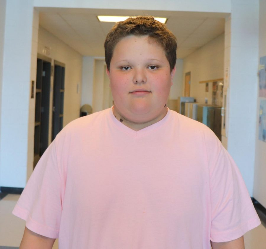 Freshman Steven Taylor wears pink on pink out day.