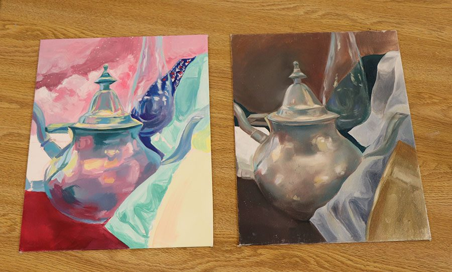 White created a illustrative piece, left, and a classic piece for one of her assignments.