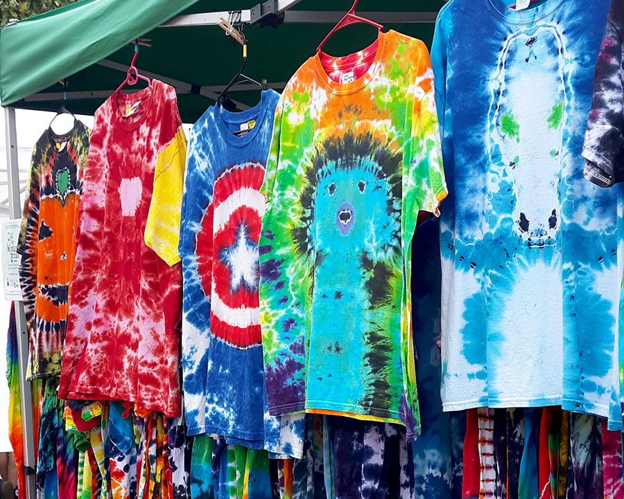 Walton's tie dye is displayed to be sold.