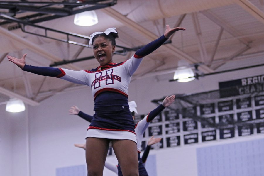 """Junior Nissi Gotay stands in the front of a line of three """"show and go"""" stunts."""